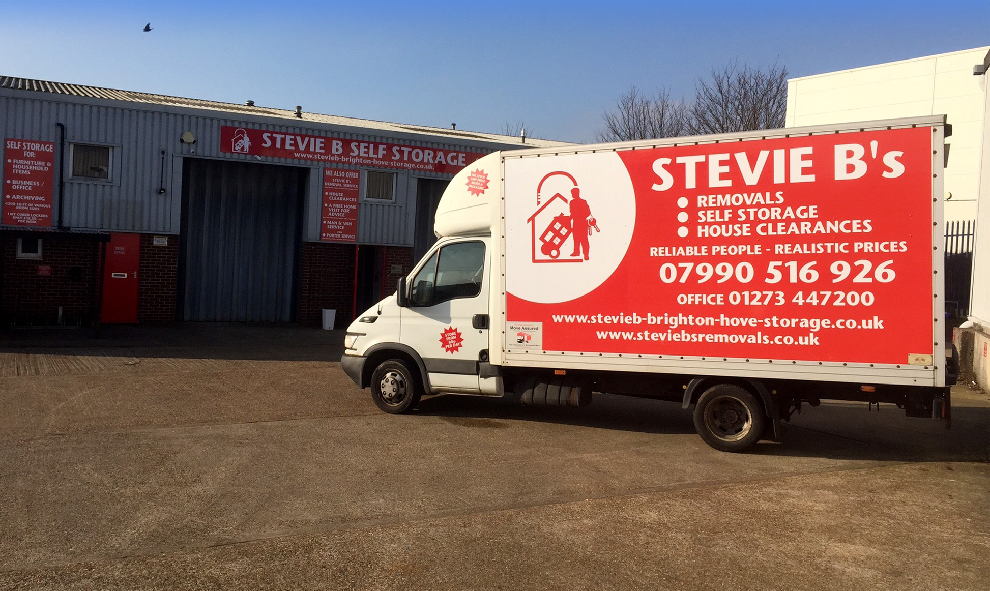 Stevie B's Removals vans at our Brighton storage centre
